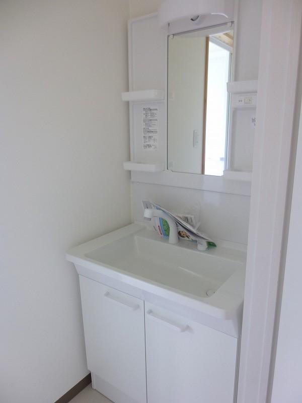 洗面台もシャワー付きです。